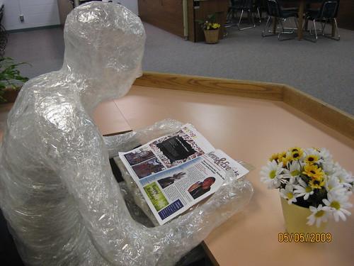 Plastic student sculpture