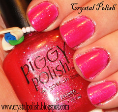 Piggy Polish Beach Break (over white) (CrystalPolish) Tags: pink glitter beachbreak piggypolish
