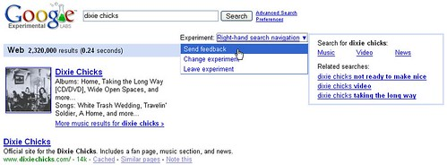 Right-hand contextual search navigation