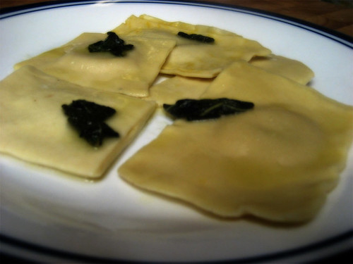 homemade raviolis with browned sage butter