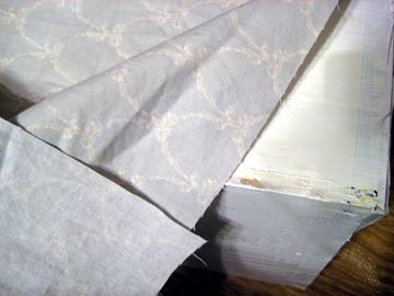 Cigar Box Painted White, Getting Covered with Fabric