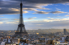 Paris skyline roofs | eiffel tower | tour eiffel | davidgiralphoto.com (David Giral | davidgiralphoto.com) Tags: blue sunset sky david paris france tower grande nikon tour cloudy eiffel bleu ciel d200 dame giral nuageux nikond200 18200mmf3556gvr