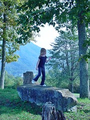 Claire dancing on mountain