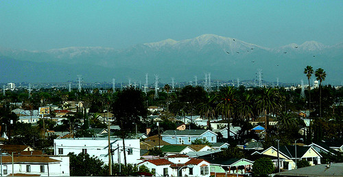 snow capped LA mountains