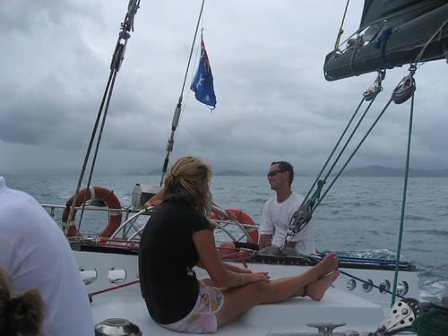 Skipper and Maxi at the rear of the boat