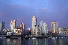 Purple Sunset (kirstk) Tags: sunset water vancouver clouds reflections falsecreek granvilleisland highrises