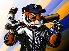 happy opening day! (Boston Wolverine) Tags: art illustration ink baseball drawing detroit mascot tigers paws detroittigers