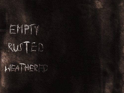 empty rusted weathered - handmade typeface detail