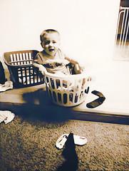 (Photosintheattic (Devy)) Tags: baby laundry flickr child happy basket laundrybasket boy toddler mischief