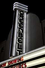Old Greenbelt Theatre, Greenbelt, MD (dckellyphoto) Tags: theatre oldgreenbelttheatre greenbelt greenbeltmd greenbeltmaryland maryland rooseveltcenter 1938 neon night artdeco 1930s theater old classic vintage dark contrast oldgreenbelttheater