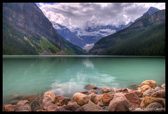 Lake Louise (Marcel Cavelti) Tags: mountain lake canada landscape alberta banff rockymountains lakelouise hdr banffnp landcscape2