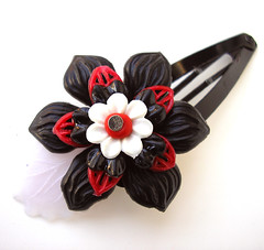 Red, White and Black Vintage Flowers Barrette