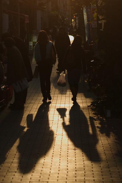 地面に伸びる影