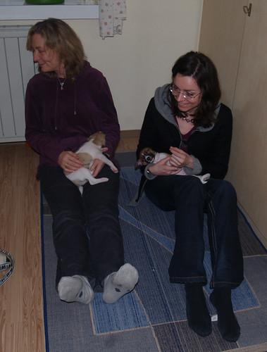 Christine und Caroline mit Anpu und Arctic