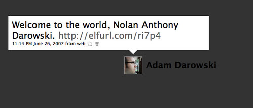 Landmark Tweets: Nolan is born