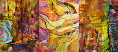 Song Of The Moon Birds Triptych (Tim Noonan) Tags: fish abstract bird art digital photoshop effects paint acrylic triptych colours shapes manipulation expressionism enhancement artlibre riotofcolours colourartaward coloursplosion syntheticcubism awardtree