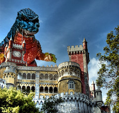 Godzilla Attacks Pena Palace in Sintra (Coussier) Tags: city blue trees windows shadow red sky tower castle portugal glass colors monster yellow rock azul stone architecture stairs d50 square casa nikon king doors princess map destruction sintra attack deep prince bluesky landmark palace nikond50 queen unesco vermelho godzilla amarelo kings tiles adobe german castelo fernando pena antiga dslr chateau pedra tone rei hdr chateaux palcio janelas ruela palacio antigo escadas palacete quadrado rainha abadia cloverfield sumptuous tonemapping tonemap ruelas abady coussier