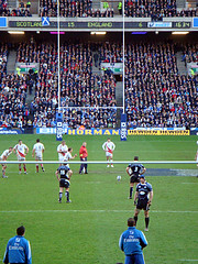 Johnny Wilkinson about to score the last points of the Scotland versus England 6 nations martch 2008