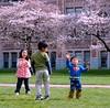 Superman and friends playing with bubbles at Cherry Tree Festive picnic, University of Washington campus, Seattle, Washington, USA