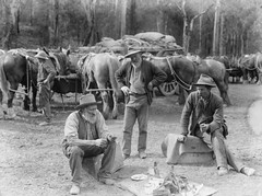 Meal break for teamsters and horses (Powerhouse Museum Collection) Tags: camp horses people blackandwhite bw men animals cowboys standing wagon sitting boots eating teamsters hats beards bn campfire meal sit rest feed roadside cart seated cavalli carri powerhousemuseum picknick sosta uomini vaqueiros fourmen draftanimals xmlns:dc=httppurlorgdcelements11 dc:identifier=httpwwwpowerhousemuseumcomcollectiondatabaseirn31989