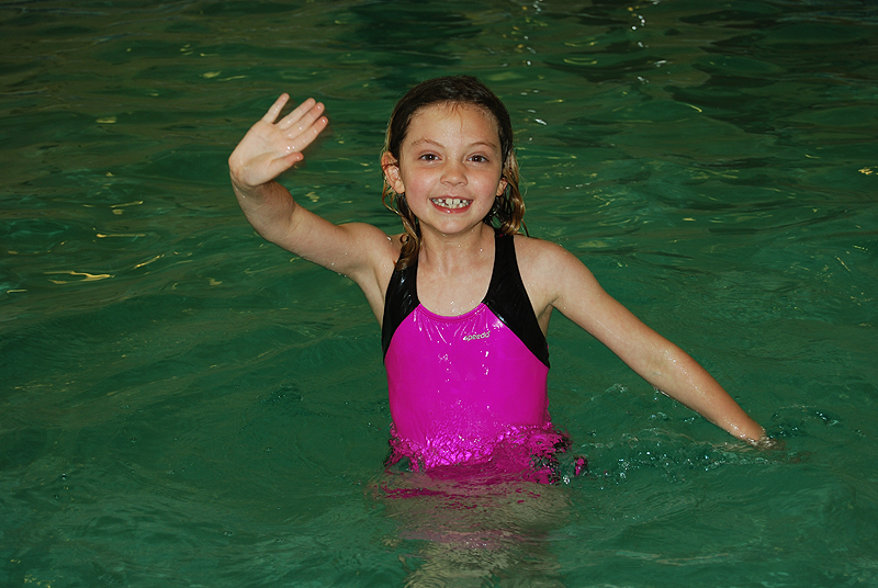 Waving from the Pool