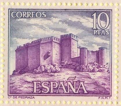 Sello de diez pesetas con la imagen del Castillo de Pedraza