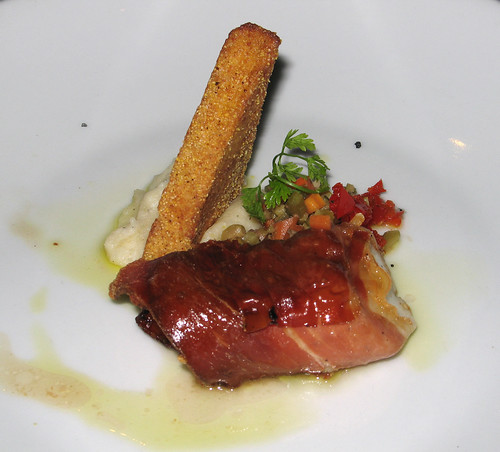 Chef Bob's Tasting  Menu, Course 4: Black Sea Bass wrapped in Parma Ham, with Crispy Parmesan Polenta and Olive-Peppadew Relish