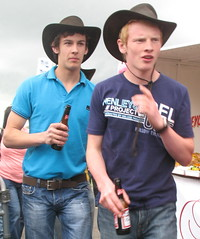 pardners (jackeeadio) Tags: ireland men beer cowboys belt candid watch tshirt belfast jeans northernireland budweiser cowboyhats ulster agriculturalshow balmoralshow royalulsteragriculturalsociety