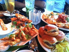 Happy Hour at the Cheesecake Factory (Harvey-Harv) Tags: food apple snacks orangecounty happyhour nachos cheesecakefactory iphone sliders orangecountyca anaheimresort appleiphone3gs happyhourfood shrimptemura thegardenwalkofanaheim