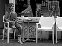 Doubtful (an untrained eye) Tags: woman holland netherlands amsterdam candid streetphotography coffeeshop bandw doubtful gurning anuntrainedeye screamingbeans orattheveryleastmakingaverystrangeface