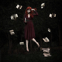 Of an investigatory nature // 08 03 14 (Manadh) Tags: trees portrait woman selfportrait glass girl grass dark reading book ginger perfect pentax fineart surreal floating levitation sigma books magnifyingglass conceptual reddress magnifying k3 levitate magnification 30mm pileofbooks manadh