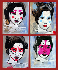 4 Kabuki masks (miumauorg) Tags: art japan lady illustration frank japanese design graphics acrylic mask grafik pop popart geisha kabuki jana mau yana miu miumau