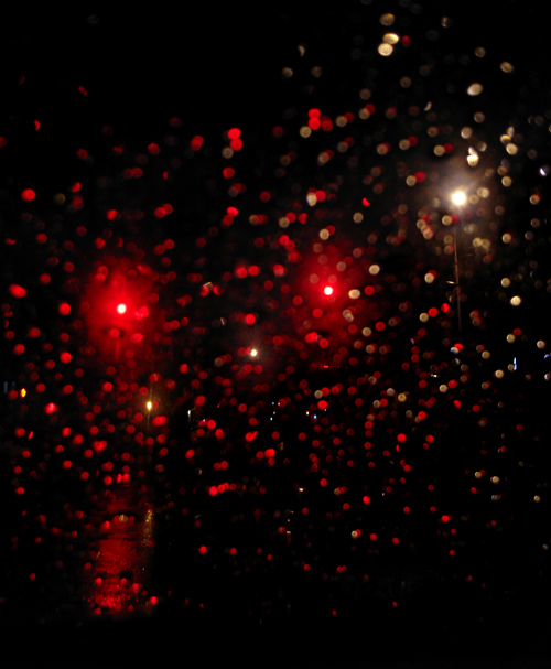 raindrops on windshield