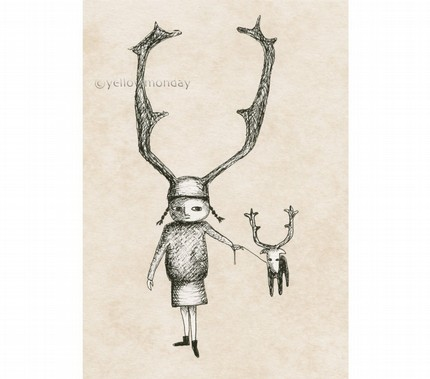 Viking Girl With Antlers & Pet Reindeer print.
