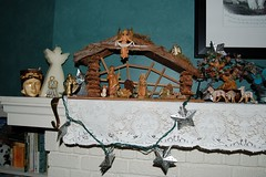 Our Manger Scene with Lapu Lapu and a Jade Tree and Basenji Angel Guard Dogs