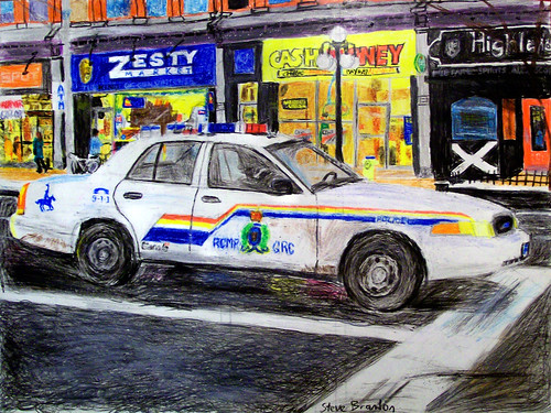 A crayon drawing of an RCMP Ford Crown Victoria Police Interceptor on Rideau Street in downtown Ottawa...