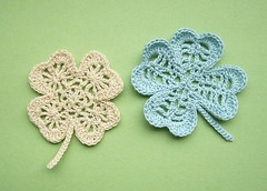 clovers (ccyytt) Tags: blue white handmade crochet craft clover