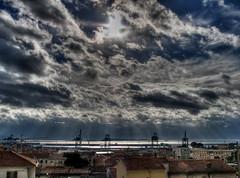 Storm over Marseilles (Lolo_) Tags: light sea mer storm clouds port island marseille harbour lumière rays nuages hdr rayons tempête île méditerranée frioul