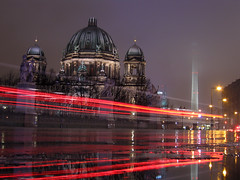 Berliner Dom (david.bank (www.david-bank.com)) Tags: winter berlin rain night germany deutschland traffic nacht fernsehturm marienkirche palastderrepublik lighttrails reflexions verkehr breathtaking regen televisiontower berlinerdom schinkel lightstream berlincathedral lutheranism schlossbrcke karlfriedrichschinkel 5photosaday evangelicalchurch waterpuddle juliuscarlraschdorff