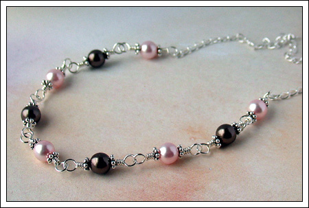 Swarovski pearl and silver necklace