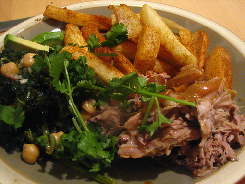 Pernil (Puerto Rican Roasted Pork Shoulder/Butt) with Yucca Fries and Kale with Chickpeas