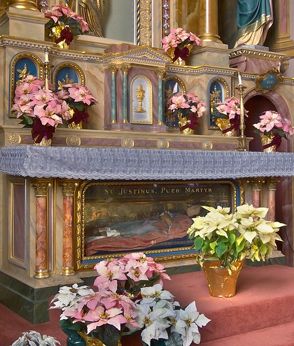 Saint Joseph Shrine, in Saint Louis, Missouri, USA - effigy of Saint Justinus