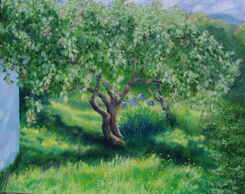 Peach tree in NZ. Water based oils 80x55cm.