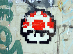 Pixel art (ideacat) Tags: barcelona street city urban streetart mushroom wall graffiti stencil paint bcn super mario pixel bros 2008 seta hongo grcia supermariobros ideacat