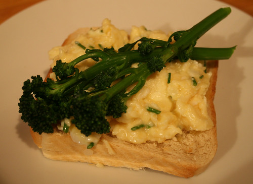 Purple Sprouting Broccoli with Scrambled Duck Eggs and Chives 4