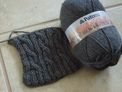 Palindrome Cabled Scarf WIP 007