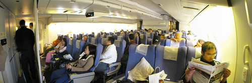 On an airplane to Shanghai, China