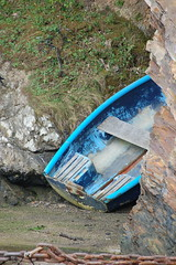Blue boat hiding