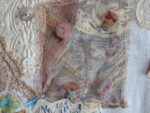 organza pocket with buttons and safety pins