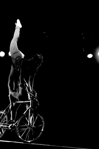 Acrobat on bike